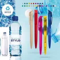 Stylo bille encre bleue corps et clip plastique en matière recyclée RPET