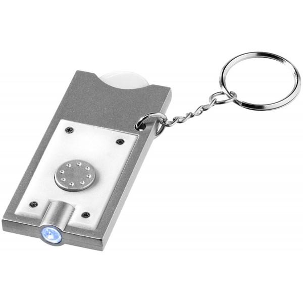 Porte-clés pub avec jeton et lampe torche, Couleur : Blanc / Argent