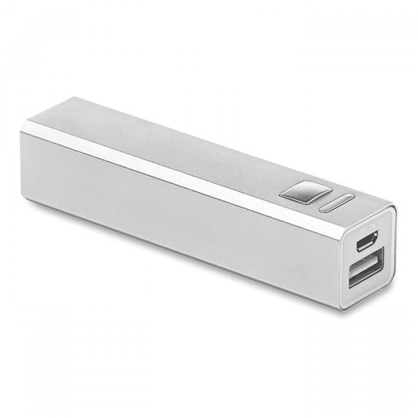 Power Bank en aluminium, Couleur : Argent