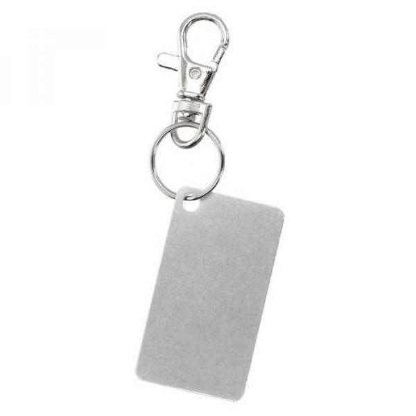 Porte-clés plaqué aluminium, Couleur : Blanc