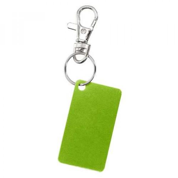 Porte-clés plaqué aluminium, Couleur : Vert Anis